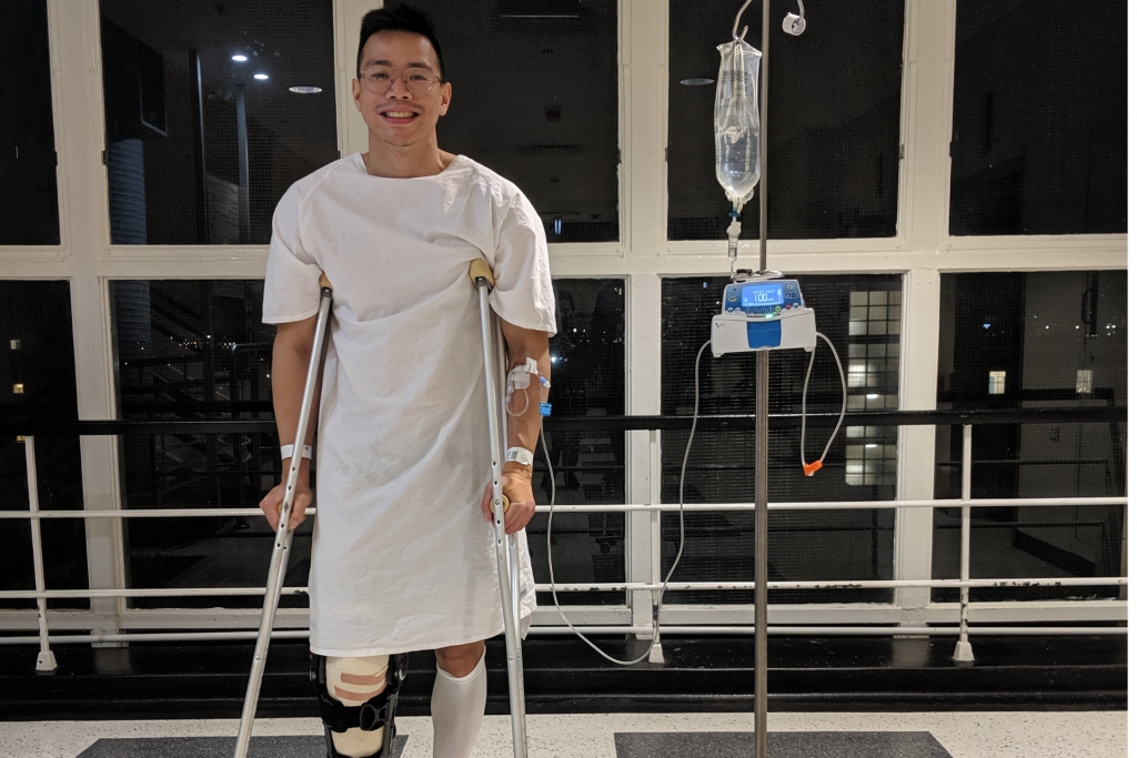 Day 0 Post Knee Surgery: Henry in good spirits, ready for rehabilitation physiotherapy