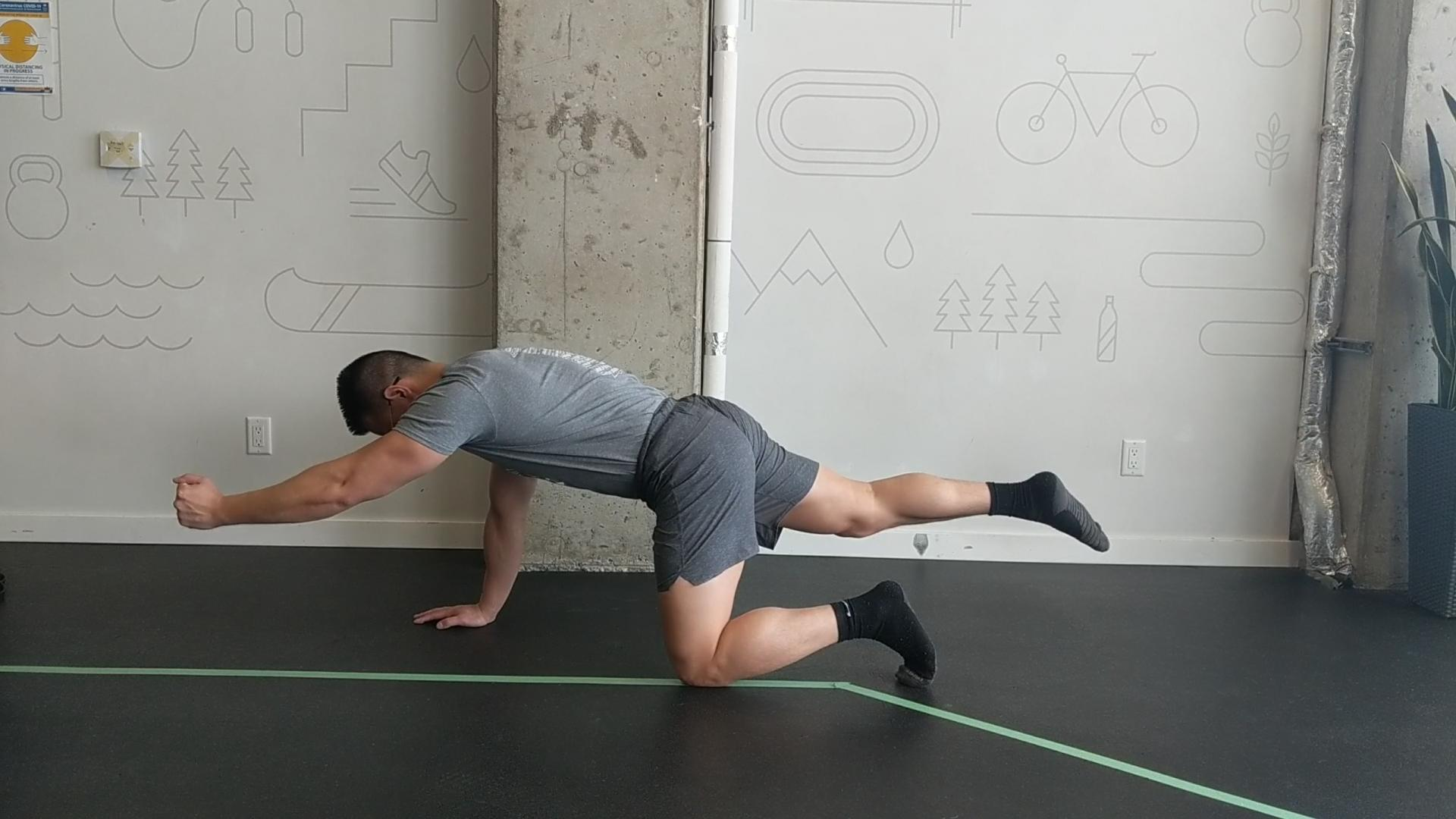 Bird Dog: A great exercise back stability, with shoulder and hip movement by Lift Clinic Vancouver Physiotherapist Henry